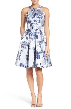 Free shipping and returns on Eliza J Floral Fit & Flare Dress at Nordstrom.com. Painterly blooms in shades of blue color this radiant jacquard-woven dress pleated to figure-flattering perfection. From the halter neckline to the full midi skirt, this fit-and-flare design is sure to be an absolute standout at your next special occasion.