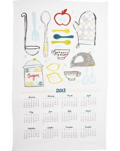 Never lose track of the date with this illustrated calendar kitchen towel. Buy it here: http://www.bhg.com/shop/sur-la-table-2013-calendar-kitchen-towel-p50c19970e4b0efa3cd508f48.html