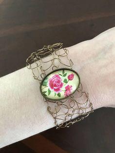 Knitted Bronze Wire Bracelet Rose Bracelet Ready To Ship