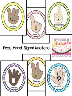 Sparkling In Kindergarten: Hand Signals Freebie