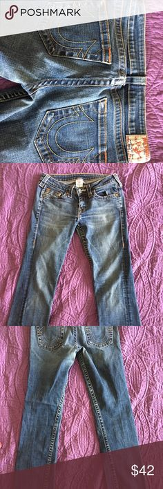 True Religion jeans -- Johnny fit I bought these about 10 years ago from Nordstroms and had them shorten at the tailor. Size 30. Length is 29.25 inches. Stretchy material. In good shape as seen in photo.. True Religion Jeans Straight Leg