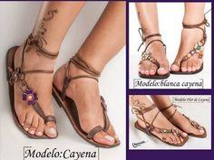 sandalias de cuero artesanal Suede Flats, Gladiator Sandals, Shoes, Women, Fashion, Leather Sandals, Zapatos, Over Knee Socks, Blue Prints