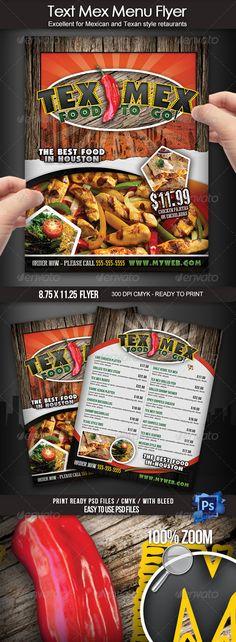 Tex Mex Menu Flyer - Food Menus Print Templates