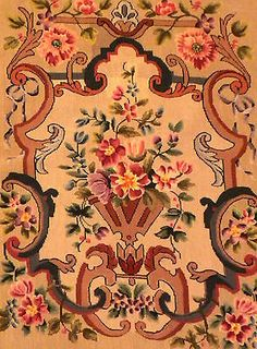 MOST FABULOUS 1800's ANTIQUE Handmade Needlepoint TAPESTRY FABRIC