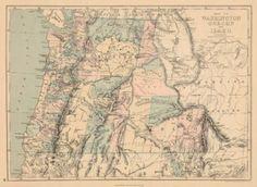 Map of Washington, Oregon and Idaho.  J. DAVID WILLIAMS, JONES, CHARLES H./THEODORE F. HAMILTON. 1873.  Sheet 19 from an American and French Jones and Hamilton atlas edition. Printed by Ferd. Meyer et fils. Polar projection.