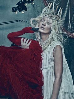 Kate Moss by Steven Klein in W Magazine. A Black Swan so angry it has us seeing red?