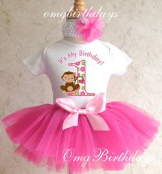 Fast Shipping Birthday Monkey Love Pink by BirthdayTutuOutfits