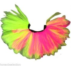 Neon Tutu Skirt 80s Fancy Dress Hen Party Fun Run Flo Pink Diamante Sparkle Set