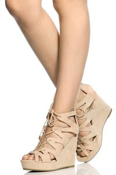 Nude Faux Suede Cut Out Lace Up Wedges