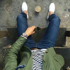 Breton stripe #t-shirt ArmorLux Olive #blazer #jacket #outerwear from The Hillside #colors