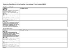 The second of many to come! Keep track of the Common Core aligned activities in your lessons with this worksheet for Reading Informational Text...