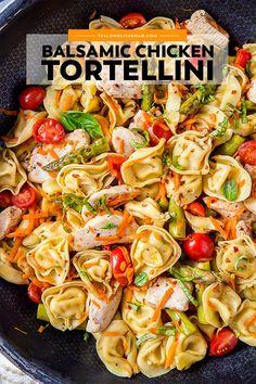 Pasta Salad With Tortellini, Chicken Tortellini, Tortellini Recipes, Pasta Recipes, Cooking Recipes, Healthy Recipes, Balsamic Chicken Pasta, Salad Chicken, Healthy Dishes