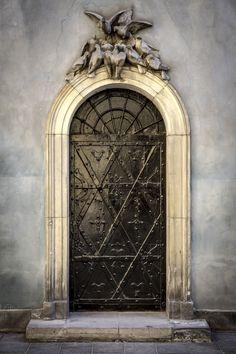Old metal door, Warsaw Old Town, Poland