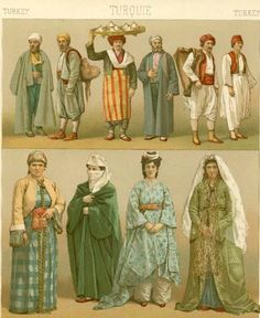 Turkey and the ottoman empire, history of fashion desing Costume Tribal, Folk Costume, Costumes, Historical Costume, Historical Clothing, Traditional Fashion, Traditional Outfits, Middle Eastern Clothing, Empire Style
