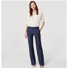 LOFT Tall Veranda Trousers (200 QAR) ❤ liked on Polyvore featuring pants, dark smokey blue, loft pants, relaxed pants, wet look pants, relaxed fit pants and tall wide leg pants