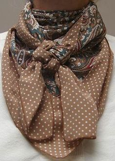 Cowboy Images Combo Green Paisley w/Cowboy Brown Dot Silk Scarf