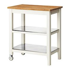 Gives you extra storage in your kitchen. Two fixed shelves in stainless steel, a hygienic, strong and durable material that's easy to keep clean. Countertop with a top layer of solid wood, a hardwearing natural material that can be sanded and surface treated when required. Good environmental choice, because the method of using a top layer of solid wood on particleboard is resource-efficient.