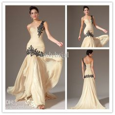 Wholesale Evening Dresses - Buy  - 2014 Top Selling One Shoulder Sweetheart Mermaid Long Champagne Prom Dresses Party Gown With Black Beaded...