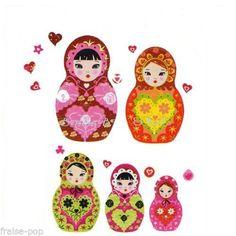 STICKERS-MURAUX-Poupee-Russe-MATRIOCHKA-Poupees-Russes-ENFANT-Fille-MURAL-Fleurs