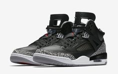 The Air Jordan Spizike Black Cement is showcased in its official images. Look for it at select Jordan Brand stores on June Design Nike Shoes, Nike Air Shoes, Sneaker Posters, Louis Vuitton Shoes Sneakers, Air Force Shoes, Kicks Shoes, Men's Shoes, Jordan Spizike, Black Cement