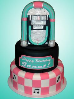 Sock Hop Birthday Theme cake for a surprise birthday party. 50s Theme Parties, Music Themed Parties, 13th Birthday Parties, 50th Party, 70th Birthday, Birthday Cakes, Music Party, Party Themes, Grease Party