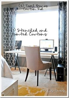 ikea desk like the curtain rods