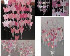 Pink and white Butterfly Mobile