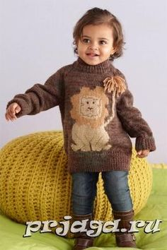Детский свитер спицами с львенком