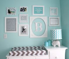 Gallery Wall over the Changing Table in an Aqua and Gray Nursery