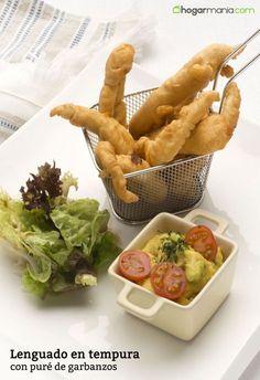 Lenguado en tempura con puré de garbanzos Tempura, Fat Loss Diet, Carrots, Healthy Recipes, Snacks, Vegetables, Food, Gastronomia, Chickpeas