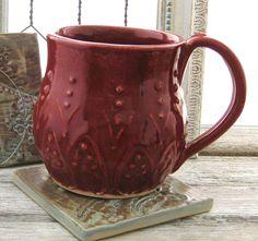 Beautiful Boho Mediterranean Mug in deep red.  (I have one - great hefty mug!)