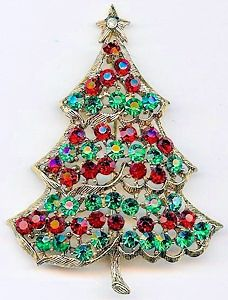 Weiss Red & Green Rhinestone Christmas Tree Pin