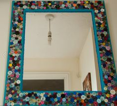 Mosaic mirror frame using buttons