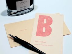 birthday - letterpress printed flashcard notecard by ilfant on Etsy