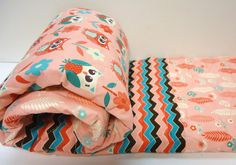 Baby Girl Quilt-Modern Patchwork-Owl Crib Bedding-Chevron Baby Blanket-Coral and Aqua Woodland Owls on Etsy, $95.00
