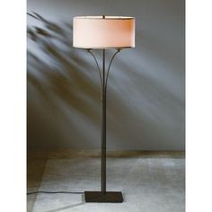 "Hubbardton Forge Formae Contemporary 58.1"" Floor Lamp Shade Color: Flax, Finish: Opaque Black"
