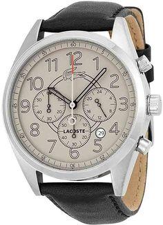 Lacoste Zaragoza Chronograph Brown Dial Black Leather Men's Watch