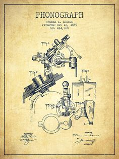 Thomas Edison Phonograph Patent From 1889 - Vintage Drawing by Aged Pixel