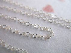 Shop Sale..Sterling Silver Chain, Flat Cable Necklace Chain, 2x1.5 mm, 6 feet Bulk, wholesale chain, delicate dainty petite SS..S88..hp