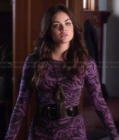 Aria�s purple rose print mini dress on Pretty Little Liars.  Outfit Details: http://wornontv.net/17454/ #PLL