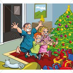 Cartoon kids running toward christmas tree. Presents all around Christmas Cartoon Pictures, Christmas Cartoons, Kids Running, Cartoon Pics, Family Guy, Christmas Tree, Guys, Corner, Presents