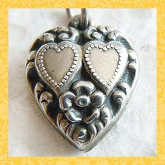 Vintage 1940's Double Hearts and Flower Puffy Heart Sterling Charm ~ Engraved Ann