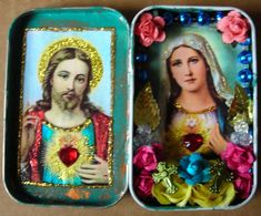 Altoids tin shrine: 'Sacred Heart of Jesus & Mary' (inside): Johnny Salas, Albuquerque, NM