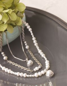 You can't go wrong with pearls for any occasion!  The middle strand is my favorite new necklace and I wear it with EVERYTHING!