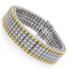 Luxurman 10k Gold 1 3/8ct TDW and Yellow Diamond 5-row Bracelet