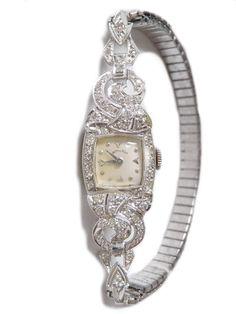 Vintage Ladies Watch Hamilton Platinum and by ArtDecoAntiques, $2180.00