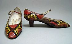 House of Dior by Roger Vivier  1961:  snakeskin, leather, metal. via The Met