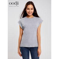 oodji 2017 Женская футболка из хлопка, бесплатная доставка из России, 14707001-4B/46154