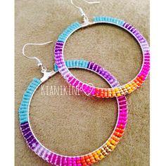 Native American Beaded Earring Hoop Set by KianiKine on Etsy