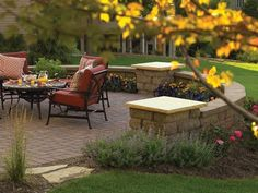 love the stack stone wall with bench seating